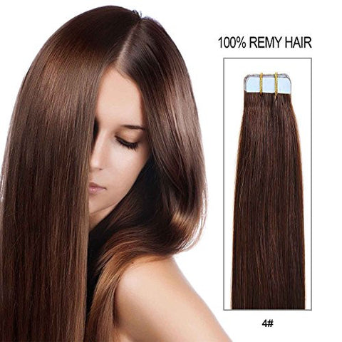 20 Inch Tape In Hair Extensions 100% Remy Straight Tape Human Hair Extensions 20pcs 50g/pack (#4) Medium Brown