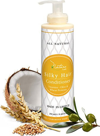 Nature Lush Organic Olive Silky Hair Conditioner - Sulfate Free Treatment - Powerful Stimulator for Hair Roots - Daily Use for Men & Women - Provides Vital Vitamins & Proteins 8.4 oz