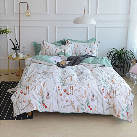 Vintage Luxury Duvet Cover Set with Floral Printing Pattern Queen Size, Egyptian Cotton Hotel Quality Bedroom/Dormitory Bedding Set Collection by LifeTB
