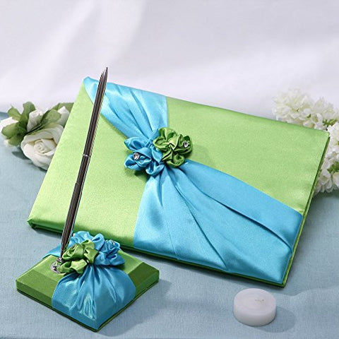 KateMelon Wedding Accessories, Blue & Green Flower Guest Book and Pen Set