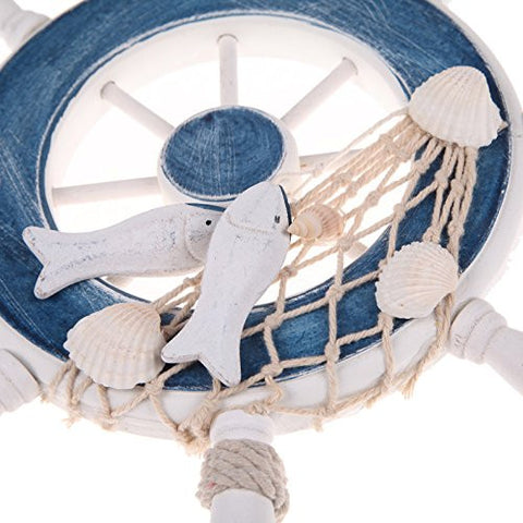 Mangocore 9Beach Wooden Boat Ship Rudder Fishing Net Home Wall Nautical Decoration (blue)