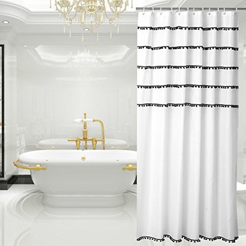 White Shower Curtain with Black Tassel Design, Fabric Shower Curtain Mildew Resistant, 72 x 72-Inch
