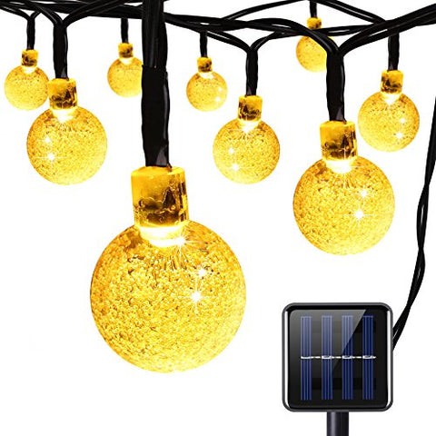 AMIR Solar Powerd String Lights, 30 LED 20ft Globe Lights, 8 Lighting Modes Crystal Ball Starry String Lights, Decoration Lights, for Gardens, Home, Party Collectible Accessories(Warm White)
