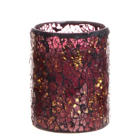 Mosaic Glass Flameless Pillar Led Wax Candle Light with Timer