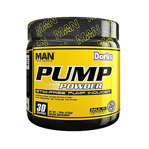 MAN Sports Pump Powder Stimulant-Free Pre-Workout Nitric Oxide Supplement, Dorks, 30 Servings, 225 Grams