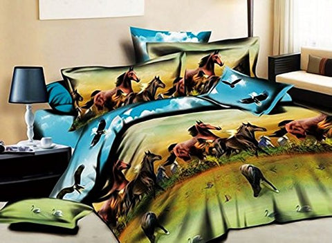 Babycare Pro Ten Thousand Horses 100% Cotton 3D Duvet Cover Bedding Sets 4 Pieces Full Size for Teen Kids (2 Pillowcases, 1 Duvet/Quilt Cover,1 Flat Sheet,No Any Filling or Comforter Included) (Full)