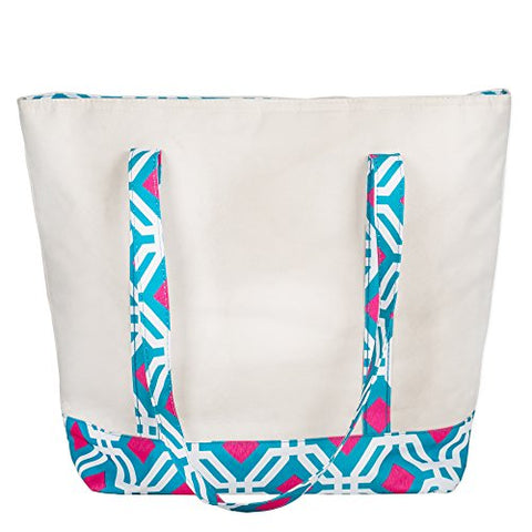Large Canvas 16 x 14 Insulated Cooler Lunch Tote with 10 Inch Drop Handles - Blue Geo Diamonds