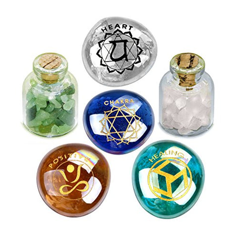 Heart Chakra Magic Positive Healing Inspirational Amulets Glass Stones Green and Rose Quartz Bottles Set