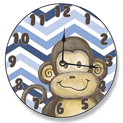 The Kids Room by Stupell Monkey on Blue Chevron Wall Clock