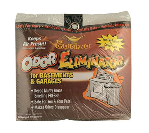 Gonzo Odor Eliminator – For Basement and Garage, All Natural, Non-Toxic, Safe for Pets and Children, Fragrance Free, Chemical Free, Reusable – 32 oz. bag