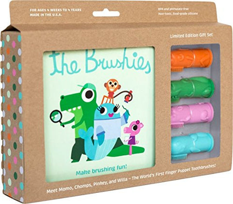 Made in the USA - Baby and toddler toothbrush and storybook gift set - the whole Brushies team!