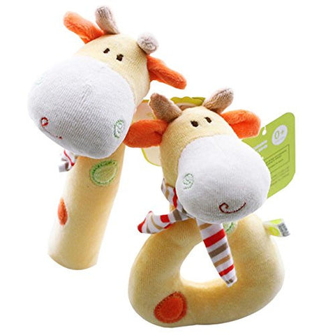 SHILOH Rattle Plush Toy Doll 2 count Yellow Giraffe