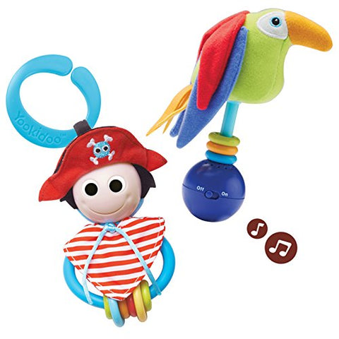 Baby Rattle Toy and Teething Ring (Set of 2)- Pirate Teether Toy and Parrot Baby Rattle- Musical Rattle Set for Early Development
