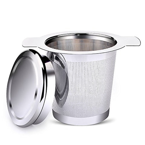 Tea Infuser, Ououdee Stainless Steel Steeper Handle Strainer Tea Filter for Loose Leaf Grain Tea Cups, Mugs, and Teapots