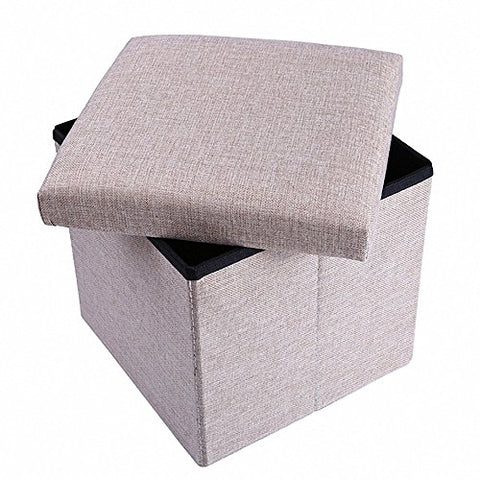 Storage Ottoman Fabric Linen Folding Stool,Collapsible 15  Cube ,Foot Rest Seat,Clutter Toys Collection Beige