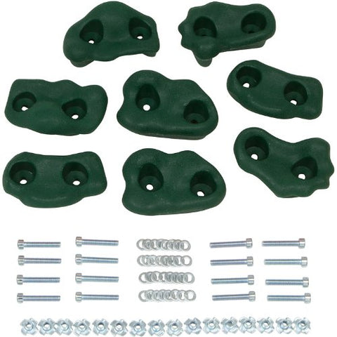 Swing Set Stuff Small Textured Rock Holds (Green) with SSS Logo Sticker (Set of 8)