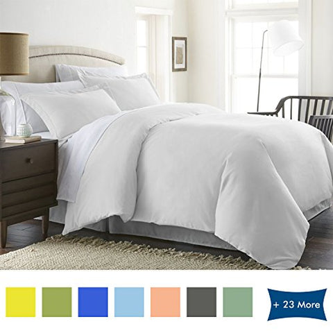 3 Piece DUVET COVER SET 100% Egyptian Cotton Hypoallergenic Luxurious 600 Thread Count (1 Duvet Cover with Zipper Closure And 2 Pillow Shams) By BED ALTER Solid Pearl White ( King / California King )