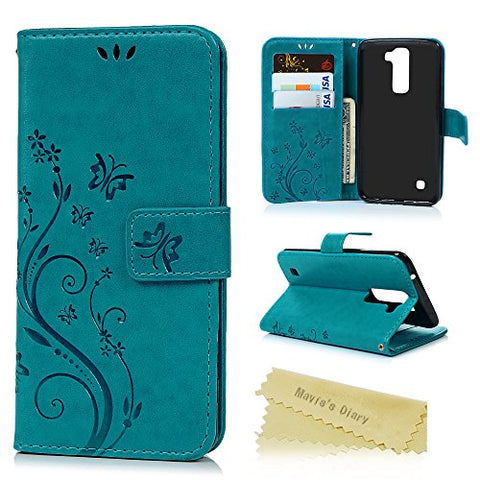 LG K7 Phone Case,LG Tribute 5 Case,LG M1 Case - Mavis's Diary Premium Wallet Fashion Embossed Butterfly Floral PU Leather Flip Folio Case & Card Slots Wrist Strap Soft TPU Inner Cover for LG K7 - Blue