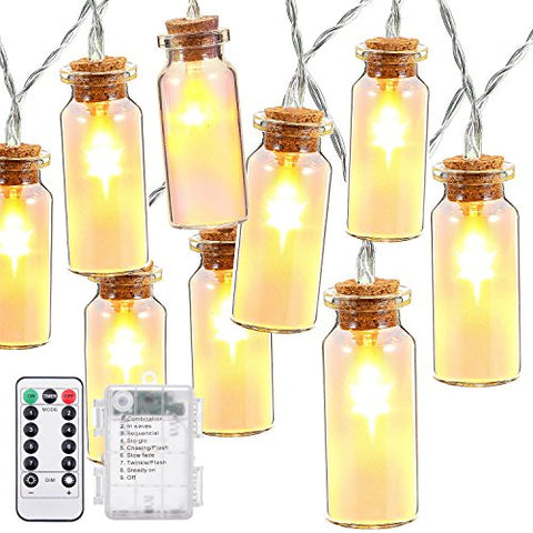 Outdoor String Lights,Oak Leaf 9.9 ft 30 LEDs Waterproof 8 Modes Glass Jar LED Fairy Lights for Beddroom Hoom Garden Wedding Party,Battery Operated