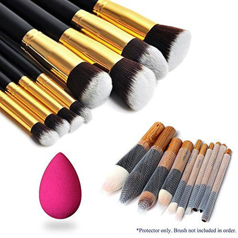Magik 8pcs Premium Synthetic Hair Essential Makeup Brushes Set (Golden&black) + 10 Makeup Brush Protectors