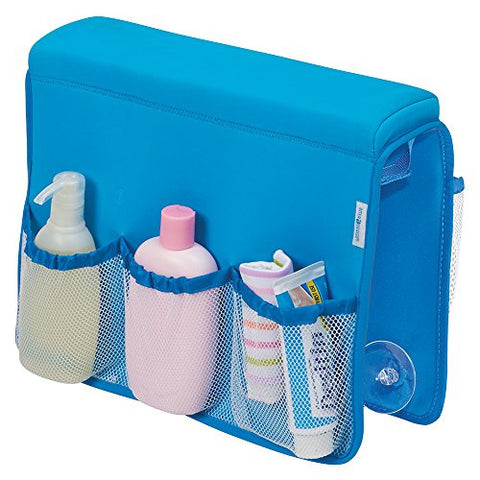 mDesign Over Bathtub Storage Organizer for Baby/Kids' Toys, Shampoo, Soap - Neoprene/Mesh, Blue
