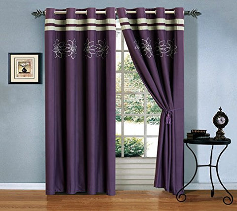 4 - Piece Purple Grey Embroidered Grommet Luxury curtain set Drapes / Window Panels 120  Wide X 84  Tall