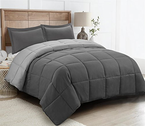 3pc Down Alternative Comforter Set -All Season Reversible Comforter with Two Shams - Quilted Duvet Insert with Corner Tabs -Box Stitched Hypoallergenic, Soft, Fluffy (Full/Queen, Dark Gray/LightGray)