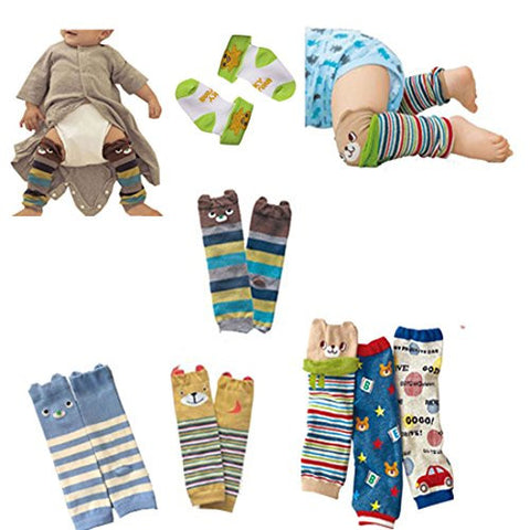 Lucky staryuan ® High Quality Set of 6 Combed Cotton Baby Cartoon Bear Knee Protectors Leg Warmer (boy pattern)