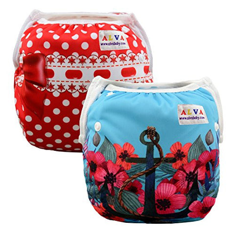 Alva Baby Swim Diapers 2pcs Pack One Size Reuseable &Adjustable 0-24 mo.Size 10-40lbs SWD21-27
