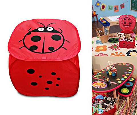 Red Lady bug Pop up mesh toy and game organizer bin, with lid & Easy to carry handles, Square Folding Toy chest