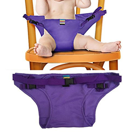 Elufly Outdoor Portable Travel High Chair Booster Baby Seat with Straps Toddler Safety Harness Shopping Cart Safety Strap (Purple)