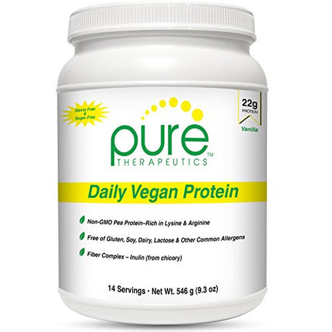Daily Vegan Protein Vanilla - 14 servings | 22 grams of Non-Gmo Yellow Pea Protein & Aminogen® | Sweetened with Monk Fruit | 8g of Fiber (Inulin *from Chicory) | Gluten-Free, Dairy-Free and Soy-Free