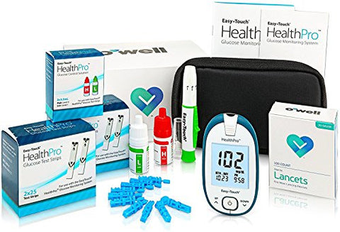 Easy Touch Health Pro Diabetes Testing Kit – Easy Touch Health Pro Meter, 100 Health Pro Blood Glucose Test Strips, 100 OWell Lancets 30g, Lancing Device and Health Pro Control Solution (2 Bottles)