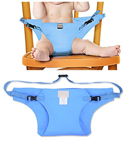 Elufly Outdoor Portable Travel High Chair Booster Baby Seat with Straps Toddler Safety Harness Shopping Cart Safety Strap (Blue)
