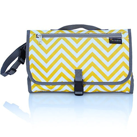 Diaper Changing Pad Clutch Kit for Babies, Waterproof Changing Station Yellow Chevron, Unisex Foldable Mat, Baby Portable Changing Pad