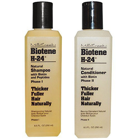 Mill Creek Botanicals Biotene H-24 Biotin and Keratin Shampoo and Condtiioner Bundle For Thinning Hair, Hair Loss and Receding Hair Line With Aloe Vera, Sage, Panthenol and Vitamin E, 8.5 oz. each