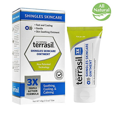 Terrasil Shingles Skincare - 3X Triple Action Formula, 100% Guaranteed, Patented, All-Natural soothing & cooling ointment for redness, itch and irritation for those suffering from shingles 45g tube