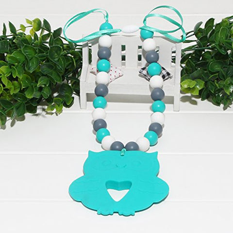 vcmart Silicone for Mom, BPA Free for Babies, Teething Beads Necklace with Owl Pendant, Turquoise