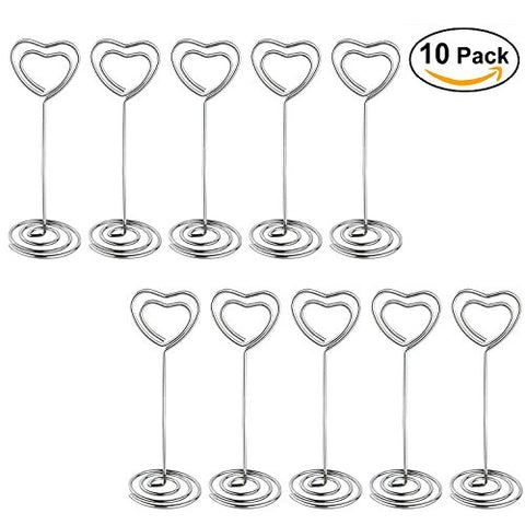 Jofefe 10pcs 4.7inch Heart Swirl Table Number Photo Clip Holder Stands for Weddings Party Gathering Baby Shower