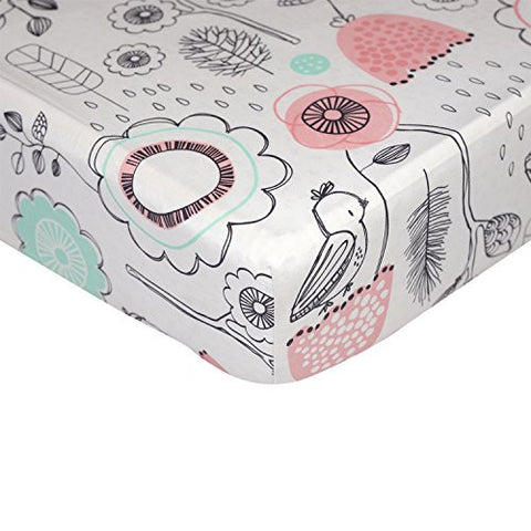 Lolli Living Sparrow Fitted Sheet – Sparrow Print – 100% Cotton Sheet, Fully Elasticized With Extra Deep Corners For Secure Fit, Gentle On Baby Skin.