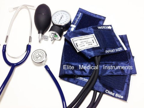 EMI #311 BLACK Pediatric Aneroid Sphymonamoneter Set Child and Infant cuff Plus Basic Dual Head Stethoscope