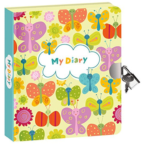 Peaceable Kingdom Butterflies Glow in the Dark 6.25 Lock and Key, Lined Page Diary for Kids