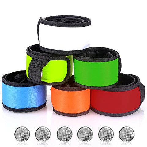 SENHAI LED Slap Bracelets Wrist Light for Running Riding Walking, Armbands Glow Snap Bracelets, 6 Different Colors, with 6 Extra Button Battery