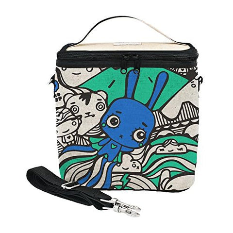 SoYoung Small Cooler Bag - Raw Linen, Eco-Friendly, Retro-Inspired, Leakproof, Easy to Clean - Pixopop Bunny