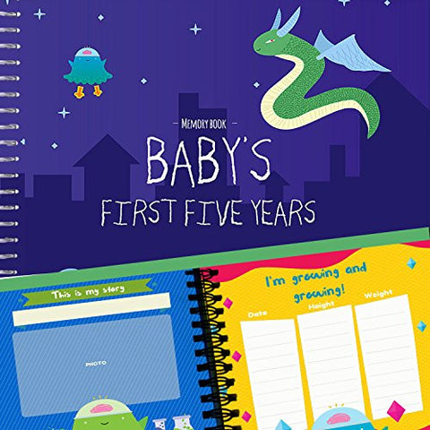 BABY MEMORY BOOK + STICKERS - Unconditional Rosie Baby Boy's FIRST FIVE YEARS Record Journal Scrapbook With 12 Milestone Stickers Included (One memory book)