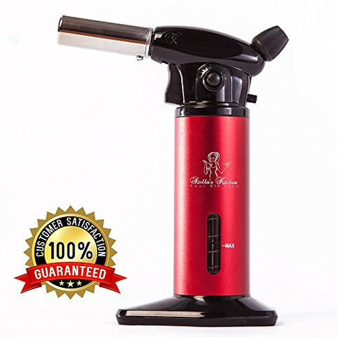 CULINARY TORCH FOR CREME BRULEE-Refillable Kitchen Cooking Blow Torch with Adjustable Flame Large Fuel Gauge and Safety Lock-Kitchen Butane Hand Torch-Butane not included