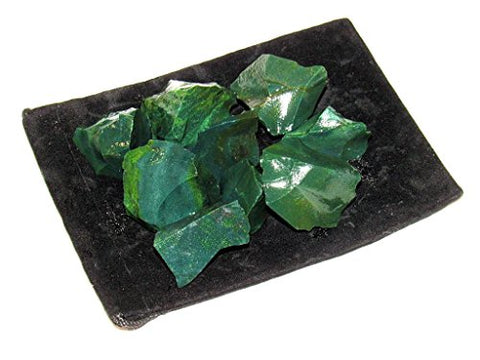 Zentron Crystal Collection: 1/2 Pound Rough Natural Green Jasper Stones with Velvet Bag