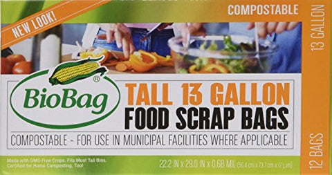 BioBag 13 Gallon Tall Kitchen Bags / Food Waste Bag, 12 Bags per Box (Total 36 Bags)