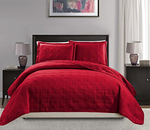 Mk Collection Full/Queen over size 100 x106  3 pc Geo Bedspread Bed-cover Quilted Embroidery solid Red New