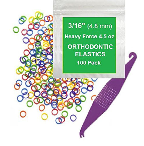 3/16 inch Orthodontic Elastic Rubber Bands, 100 Pack, Neon, Heavy Force 4.5 oz, Small Rubberbands for making bows, Dreadlocks, Dreads, Doll Hair, Braids, Horse Mane, Horse Tail, Fix Tooth Gap in teeth, Top Knots + FREE Elastic Placer for braces